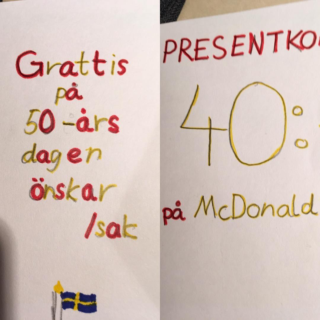 Bästa presenten till sin pappa som fyller 50 år!! ? Själv var jag 11 år och det syntes väl tydligt att jag skulle bli grafisk formgivare!? ?